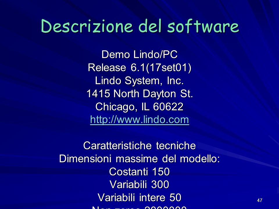 Descrizione del software