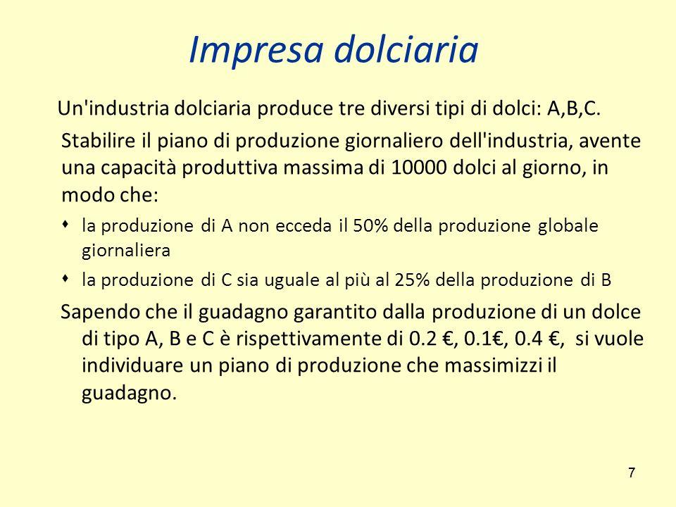 Impresa dolciaria Un industria dolciaria produce tre diversi tipi di dolci: A,B,C.