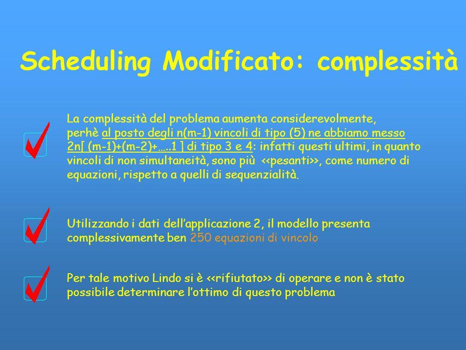 Scheduling Modificato: complessità