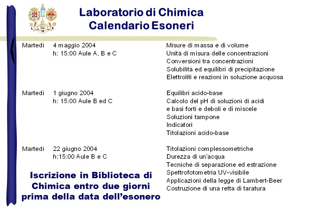 Laboratorio di Chimica Calendario Esoneri