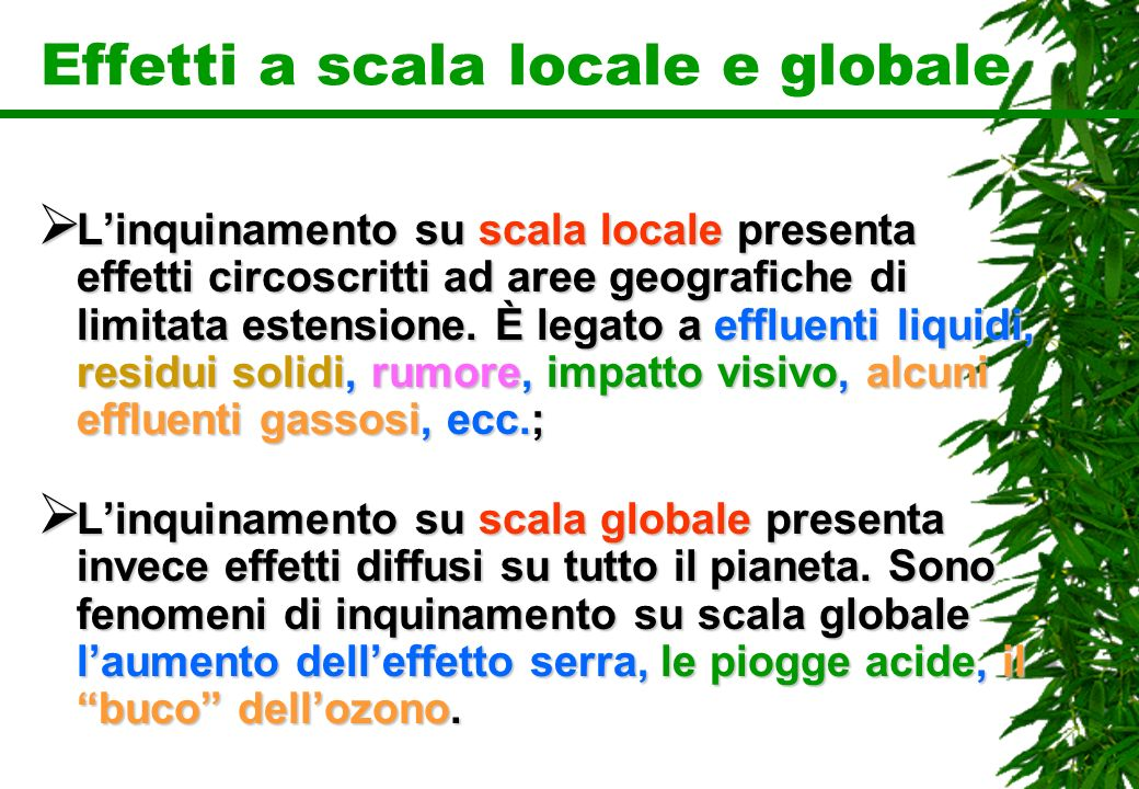 Effetti a scala locale e globale