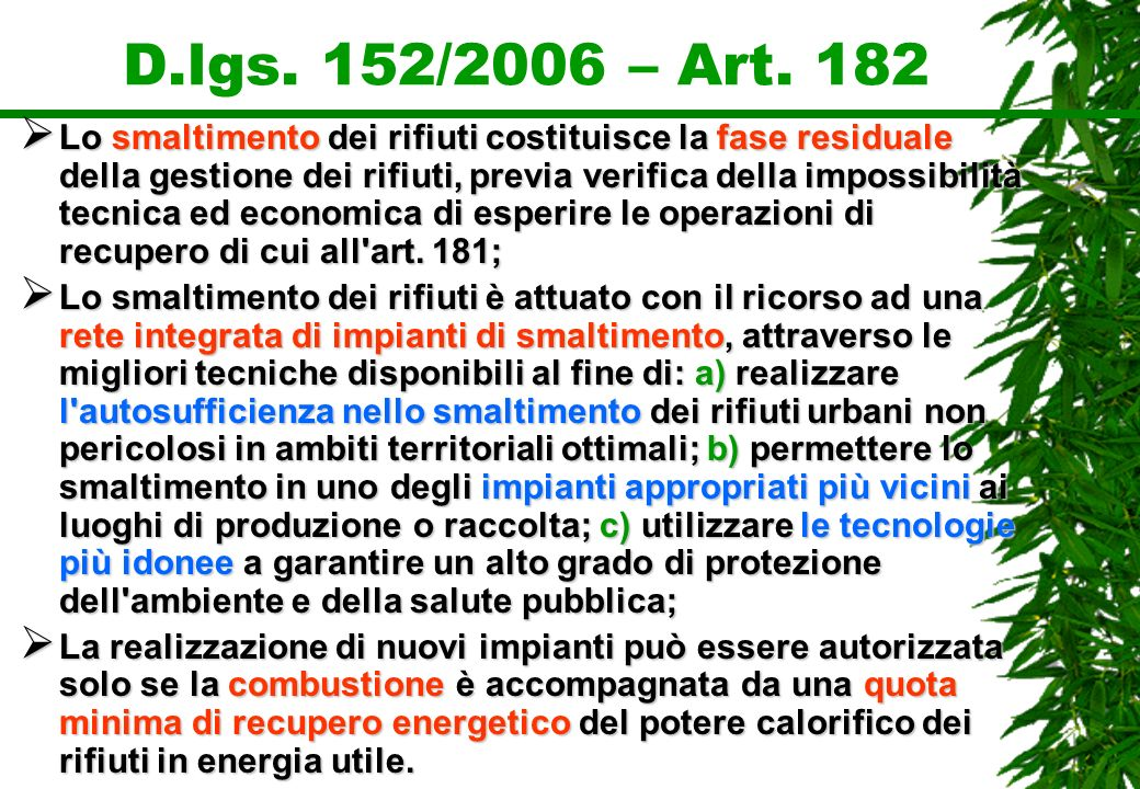 D.lgs. 152/2006 – Art. 182