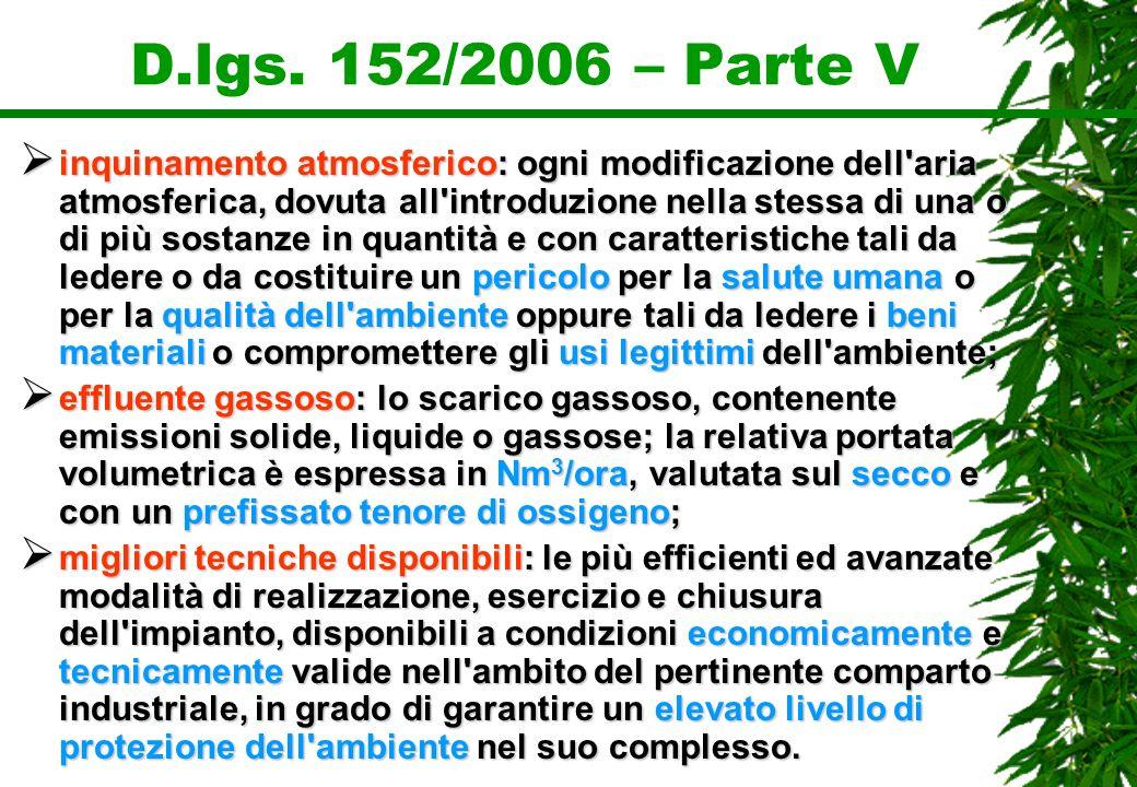 D.lgs. 152/2006 – Parte V