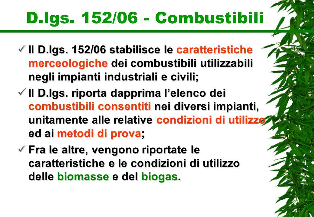 D.lgs. 152/06 - Combustibili