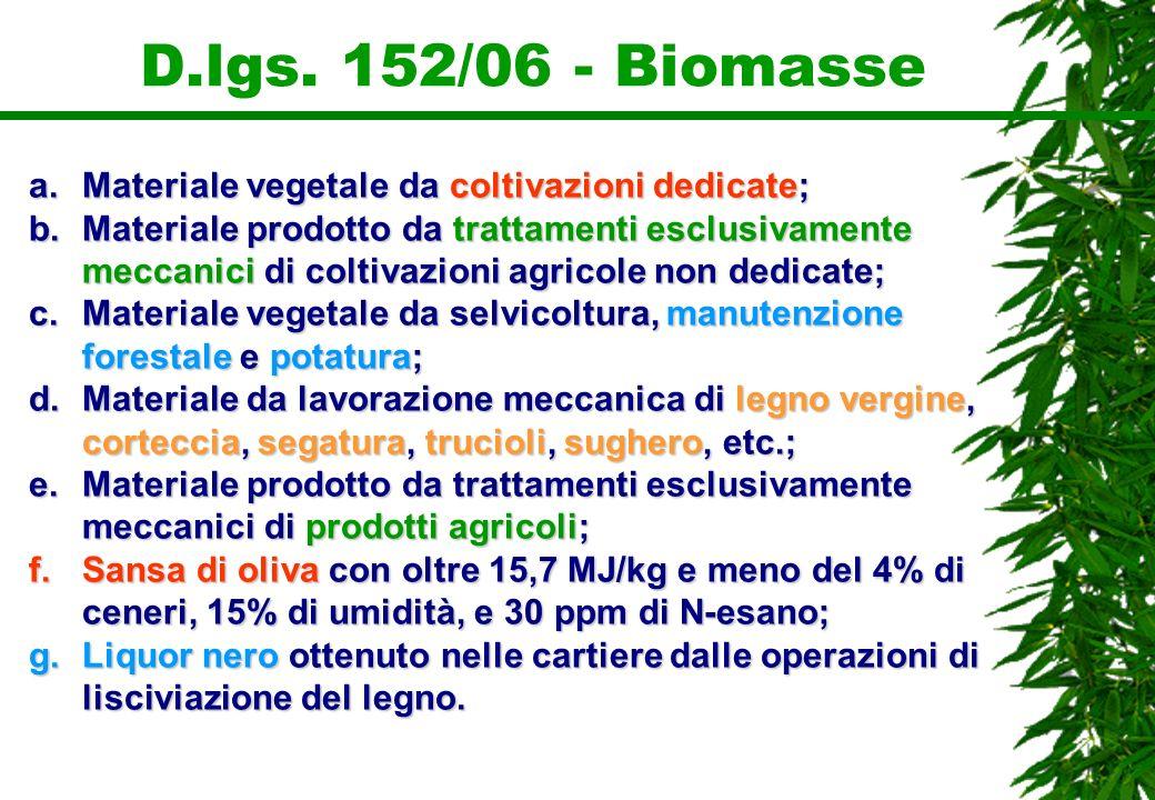 D.lgs. 152/06 - Biomasse Materiale vegetale da coltivazioni dedicate;