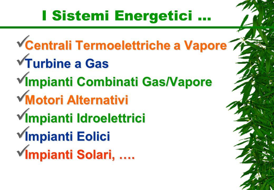 I Sistemi Energetici … Centrali Termoelettriche a Vapore Turbine a Gas