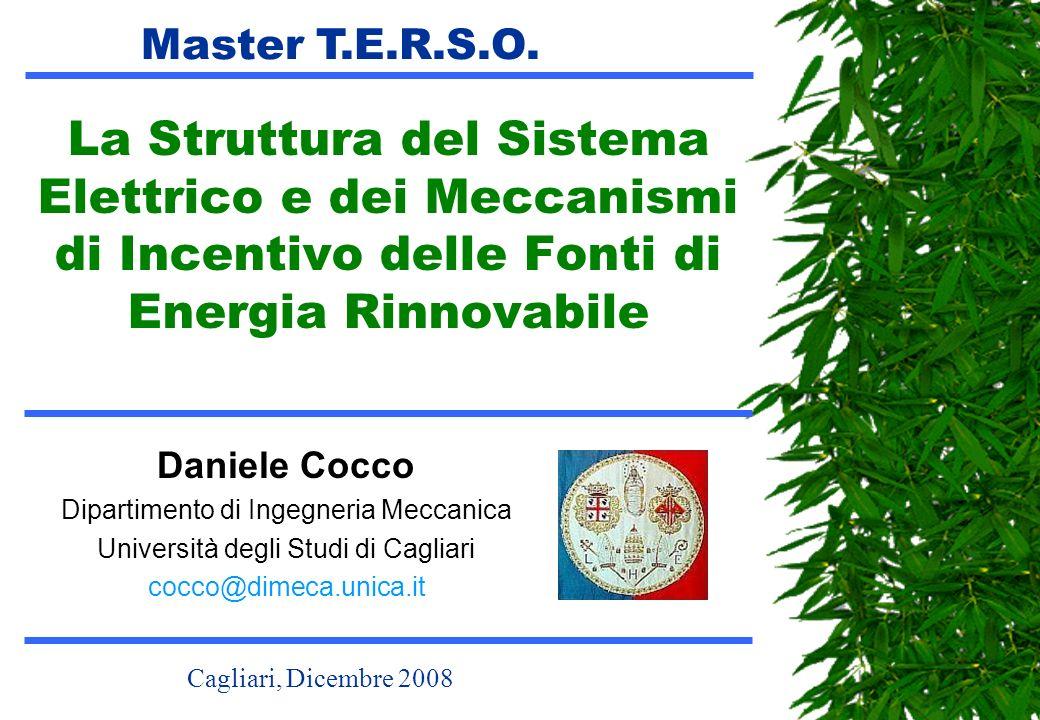 Master T.E.R.S.O. La Struttura del Sistema Elettrico e dei Meccanismi di Incentivo delle Fonti di Energia Rinnovabile.