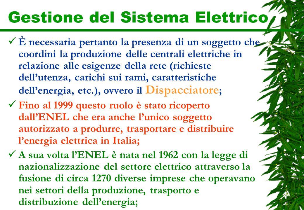 Gestione del Sistema Elettrico