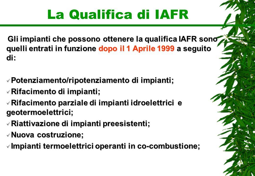 La Qualifica di IAFR Gli impianti che possono ottenere la qualifica IAFR sono quelli entrati in funzione dopo il 1 Aprile 1999 a seguito di: