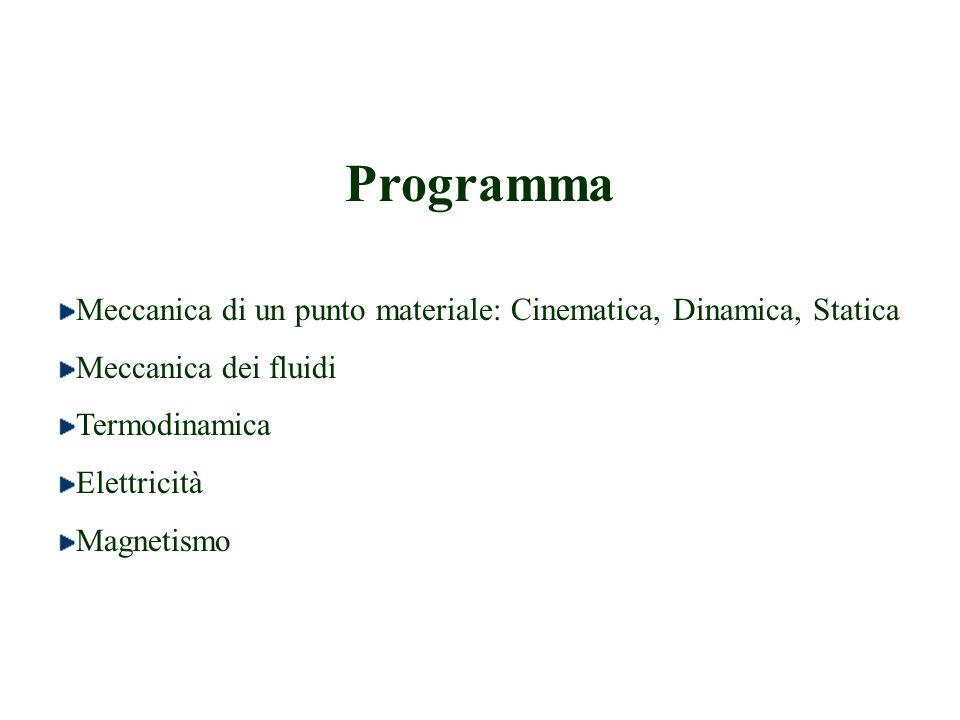 Programma Meccanica di un punto materiale: Cinematica, Dinamica, Statica. Meccanica dei fluidi. Termodinamica.