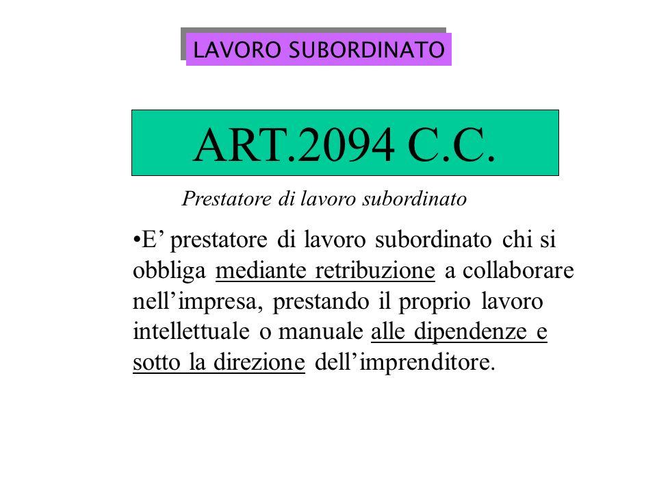 LAVORO SUBORDINATO ART.2094 C.C. Prestatore di lavoro subordinato.