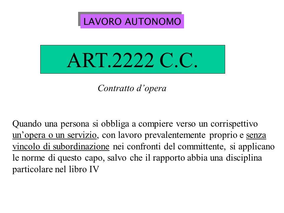 ART.2222 C.C. LAVORO AUTONOMO Contratto d'opera