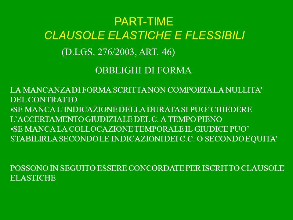 PART-TIME CLAUSOLE ELASTICHE E FLESSIBILI