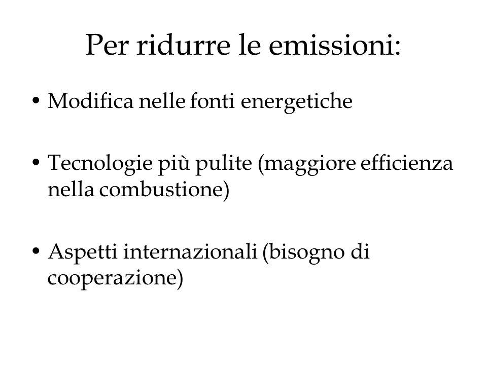 Per ridurre le emissioni:
