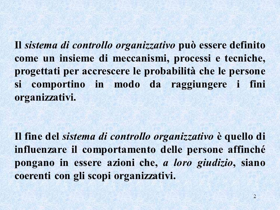 Il sistema di controllo organizzativo può essere definito come un insieme di meccanismi, processi e tecniche, progettati per accrescere le probabilità che le persone si comportino in modo da raggiungere i fini organizzativi.