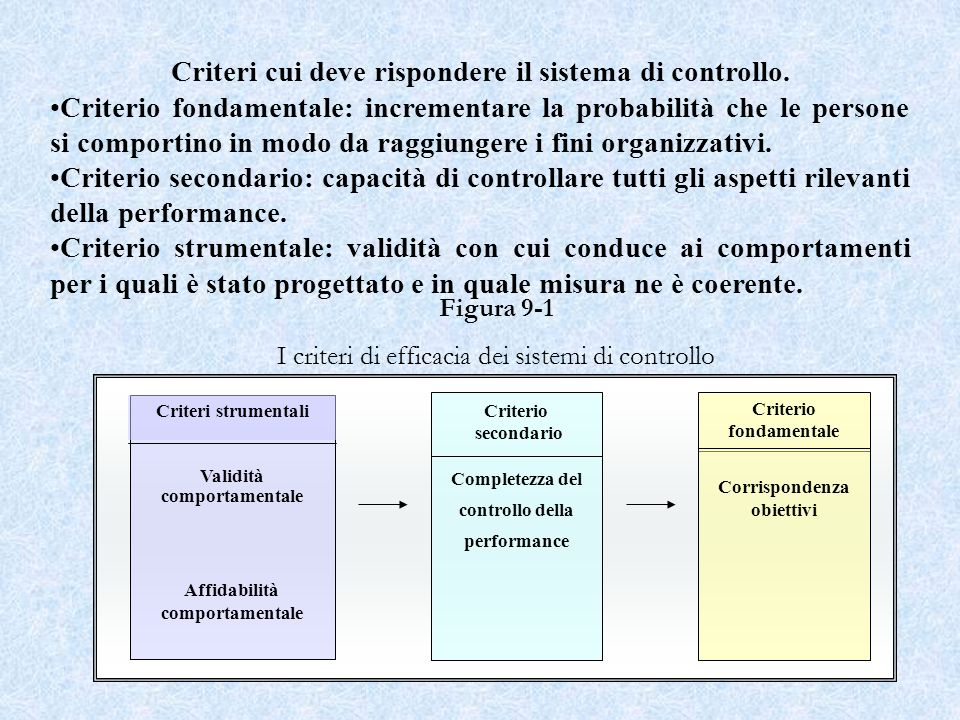 Criteri cui deve rispondere il sistema di controllo.