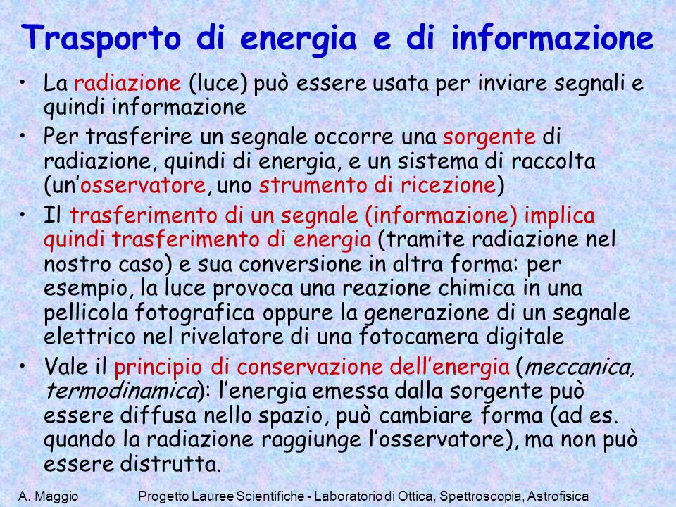 Trasporto di energia e di informazione