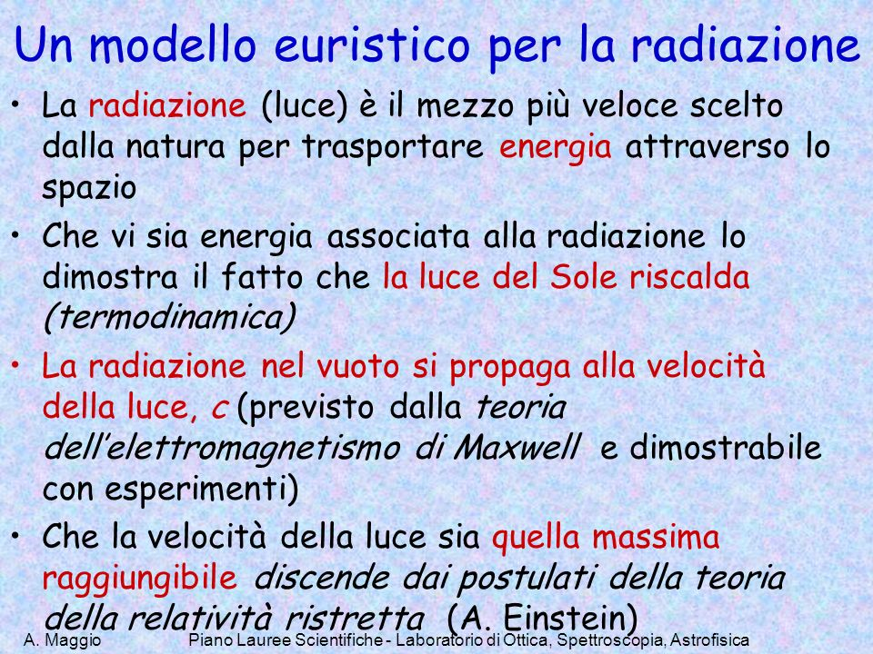Un modello euristico per la radiazione