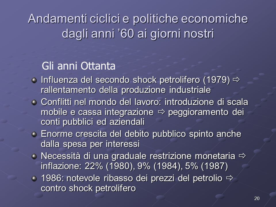 Andamenti ciclici e politiche economiche dagli anni '60 ai giorni nostri
