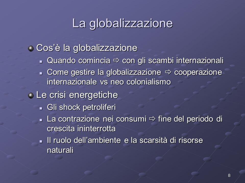 La globalizzazione Cos'è la globalizzazione Le crisi energetiche