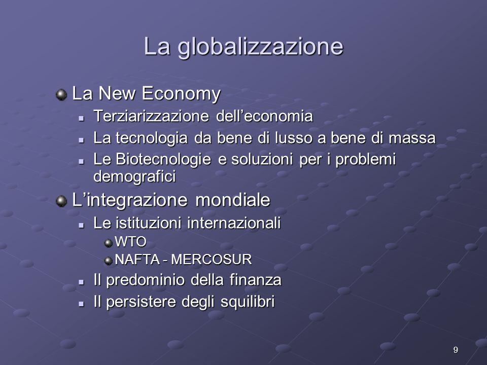 La globalizzazione La New Economy L'integrazione mondiale