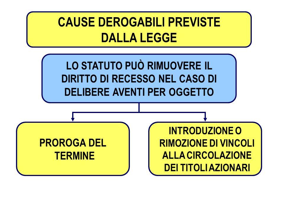 CAUSE DEROGABILI PREVISTE
