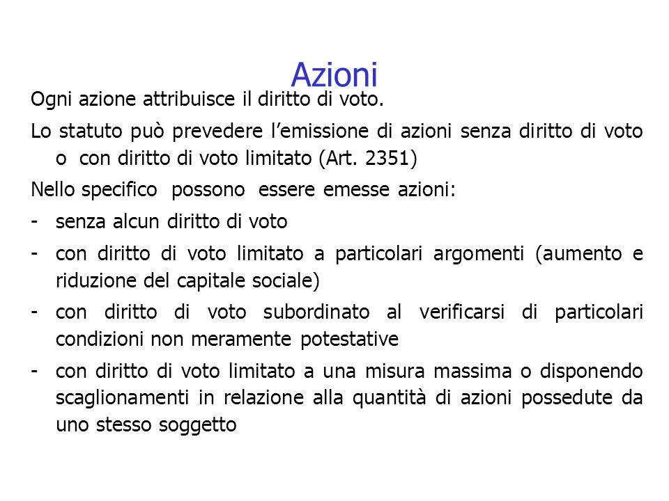 Azioni Ogni azione attribuisce il diritto di voto.