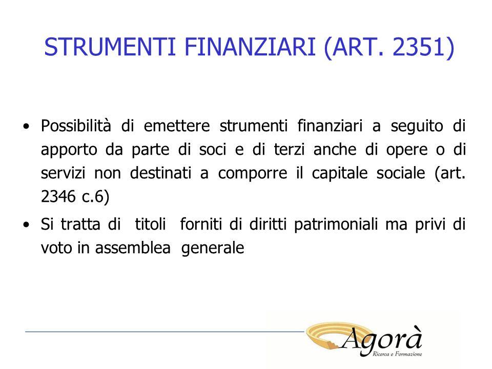STRUMENTI FINANZIARI (ART. 2351)