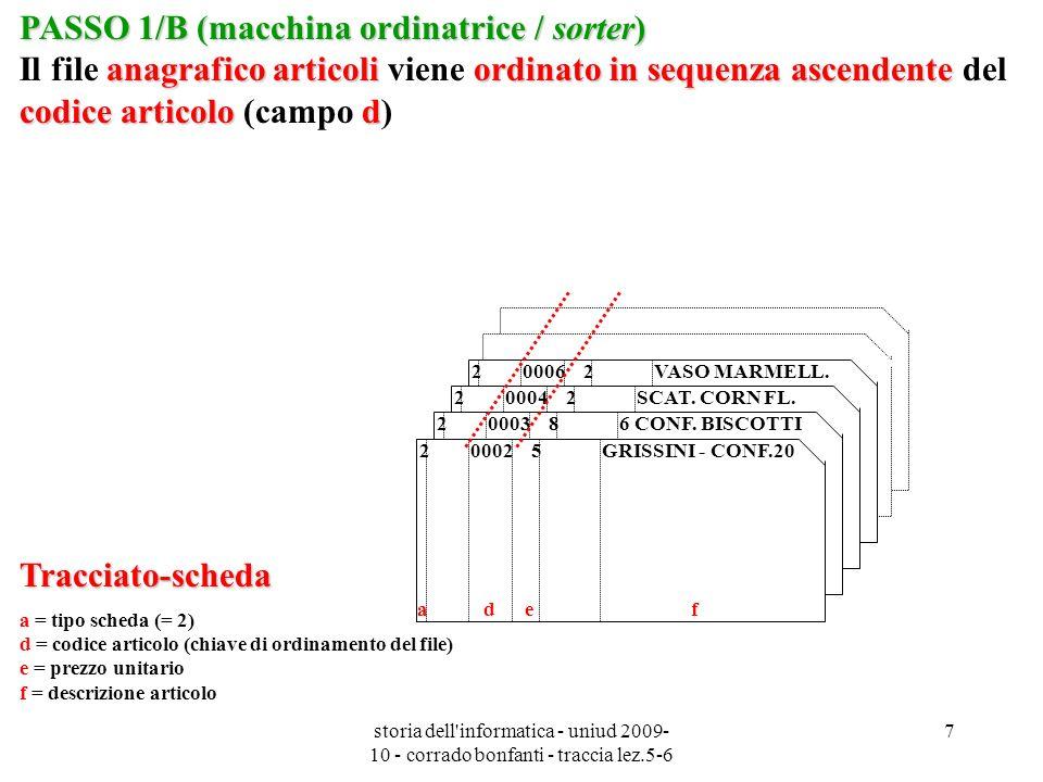 PASSO 1/B (macchina ordinatrice / sorter) Il file anagrafico articoli viene ordinato in sequenza ascendente del codice articolo (campo d)