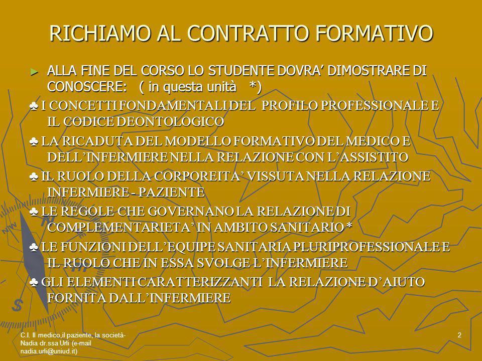 RICHIAMO AL CONTRATTO FORMATIVO