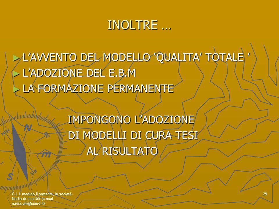 INOLTRE … L'AVVENTO DEL MODELLO 'QUALITA' TOTALE '