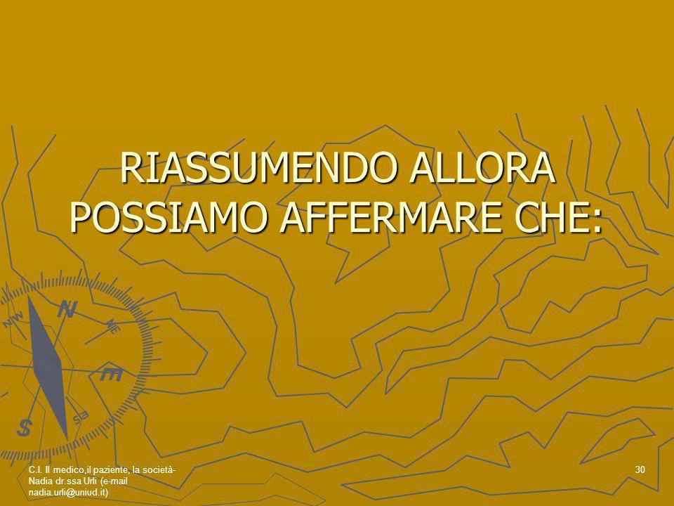 RIASSUMENDO ALLORA POSSIAMO AFFERMARE CHE: