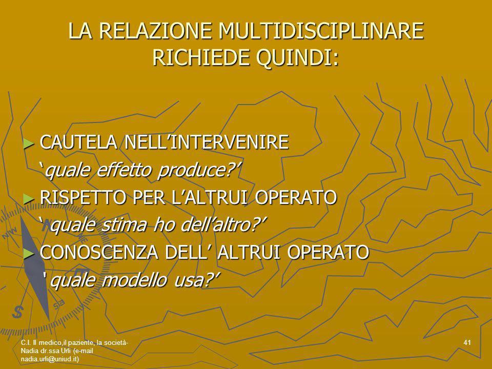 LA RELAZIONE MULTIDISCIPLINARE RICHIEDE QUINDI:
