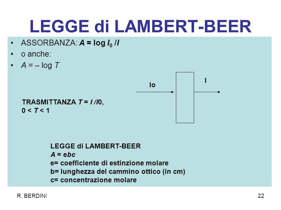 LEGGE di LAMBERT-BEER ASSORBANZA: A = log I0 /I o anche: A = – log T I