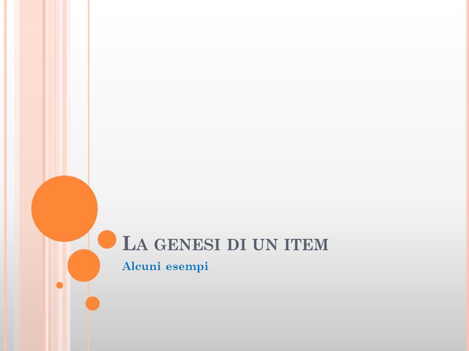 La genesi di un item Alcuni esempi