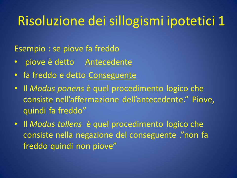 Risoluzione dei sillogismi ipotetici 1