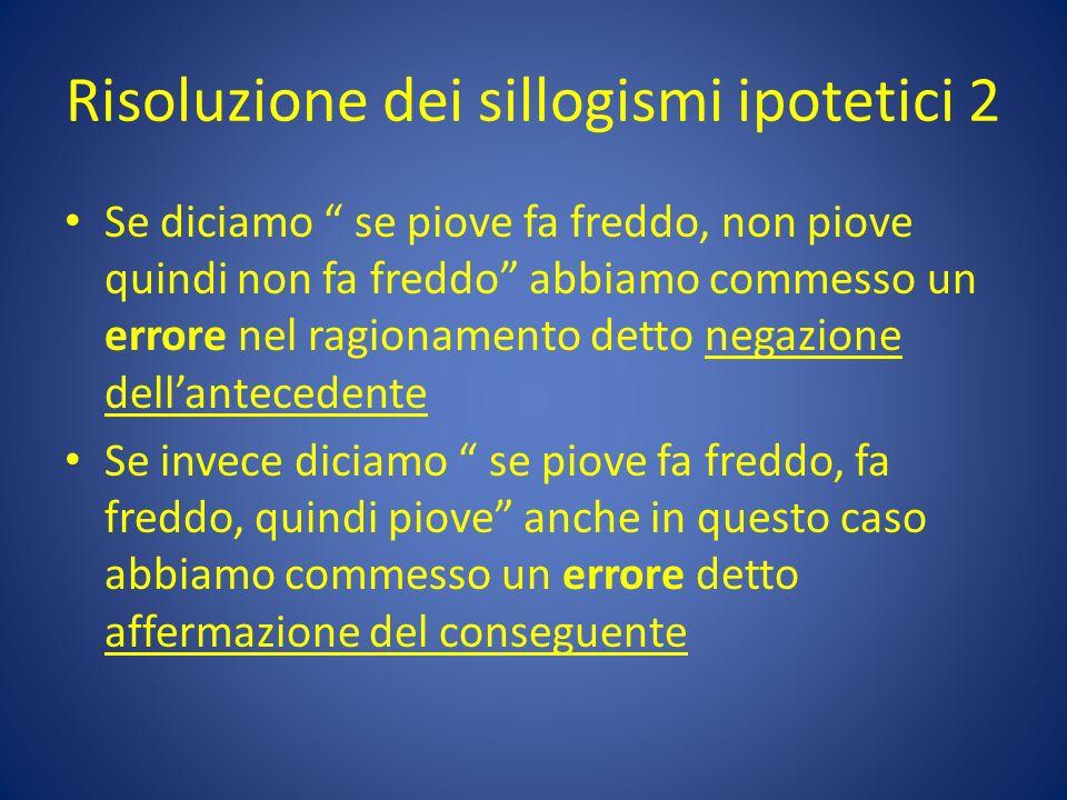 Risoluzione dei sillogismi ipotetici 2