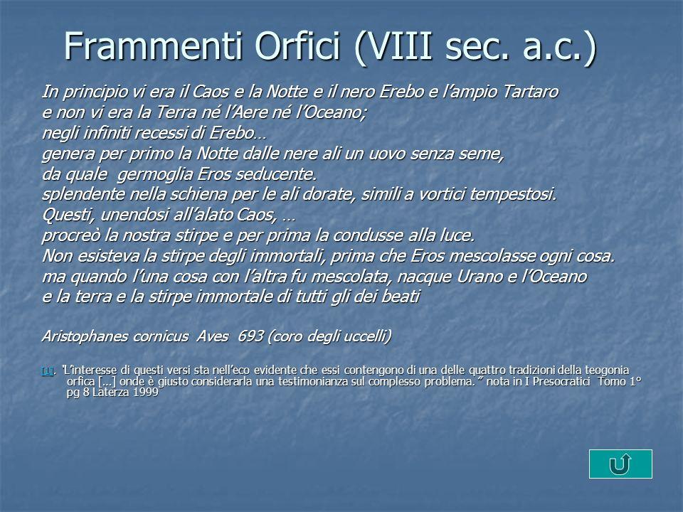 Frammenti Orfici (VIII sec. a.c.)