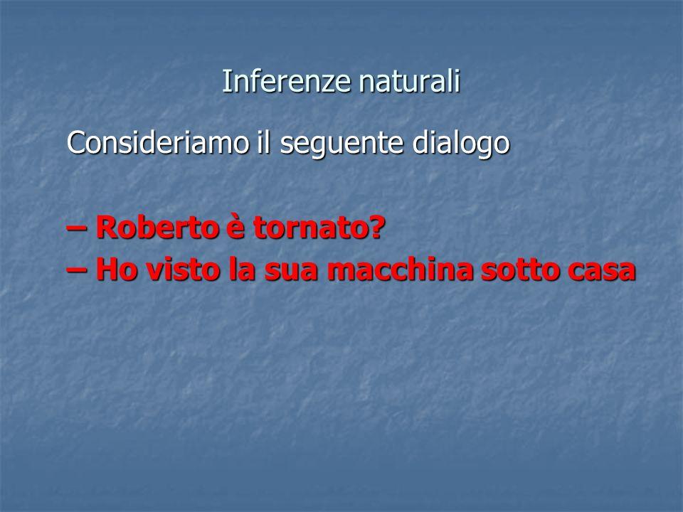 Inferenze naturali Consideriamo il seguente dialogo.