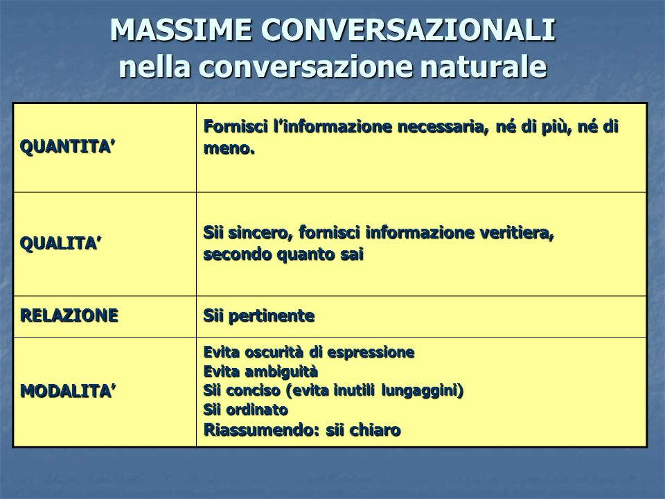 MASSIME CONVERSAZIONALI nella conversazione naturale