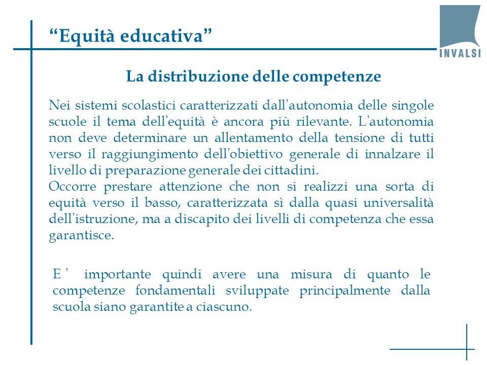 Equità educativa La distribuzione delle competenze
