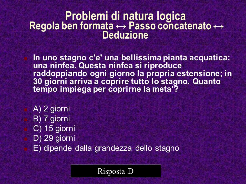 Problemi di natura logica Regola ben formata ↔ Passo concatenato ↔ Deduzione