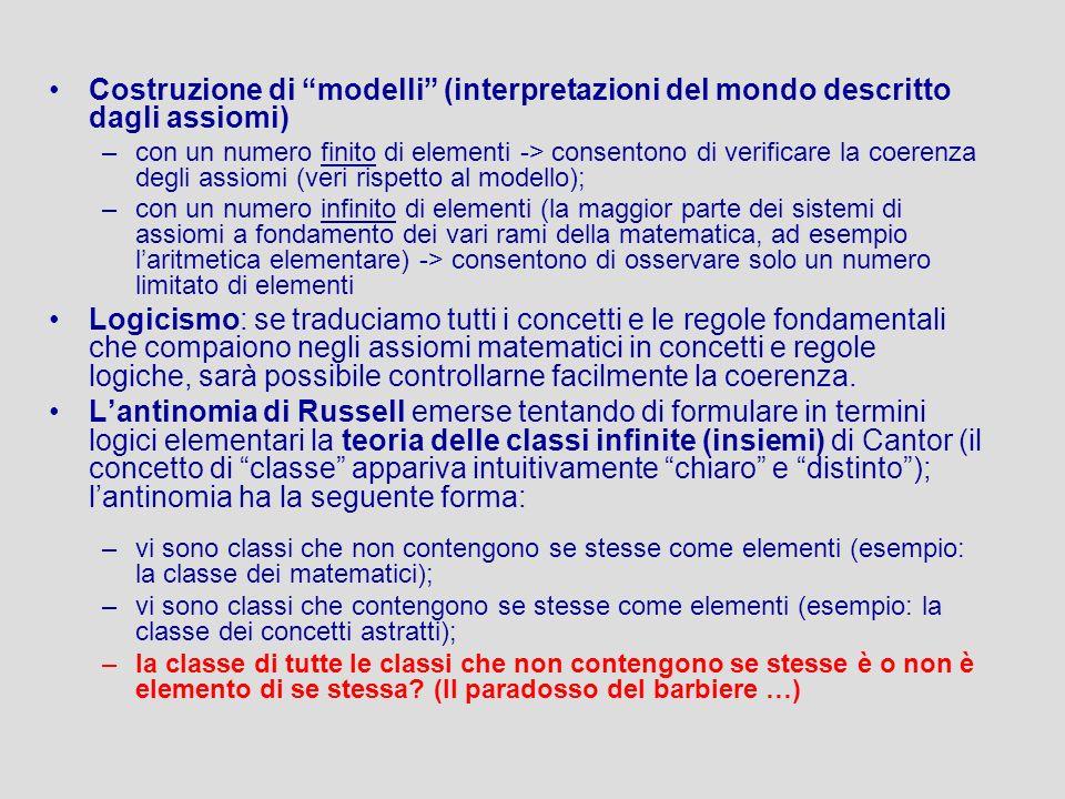 Costruzione di modelli (interpretazioni del mondo descritto dagli assiomi)