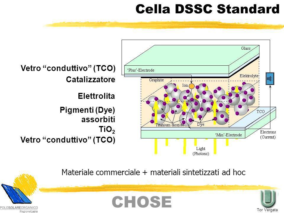 CHOSE Cella DSSC Standard Vetro conduttivo (TCO) Catalizzatore