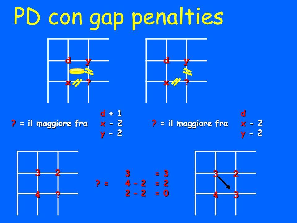 PD con gap penalties d y x d y x 3 2 4 3 2 4 d + 1