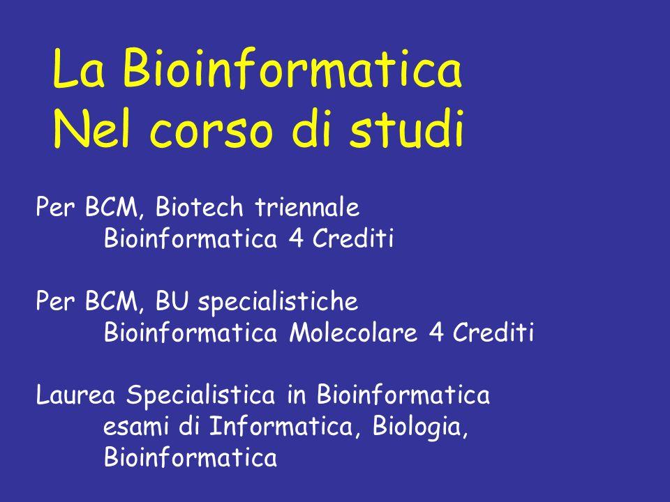 La Bioinformatica Nel corso di studi Per BCM, Biotech triennale