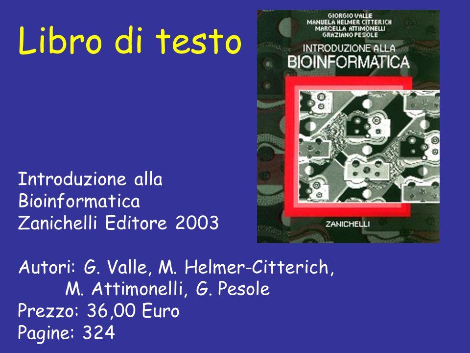 Libro di testo Introduzione alla Bioinformatica