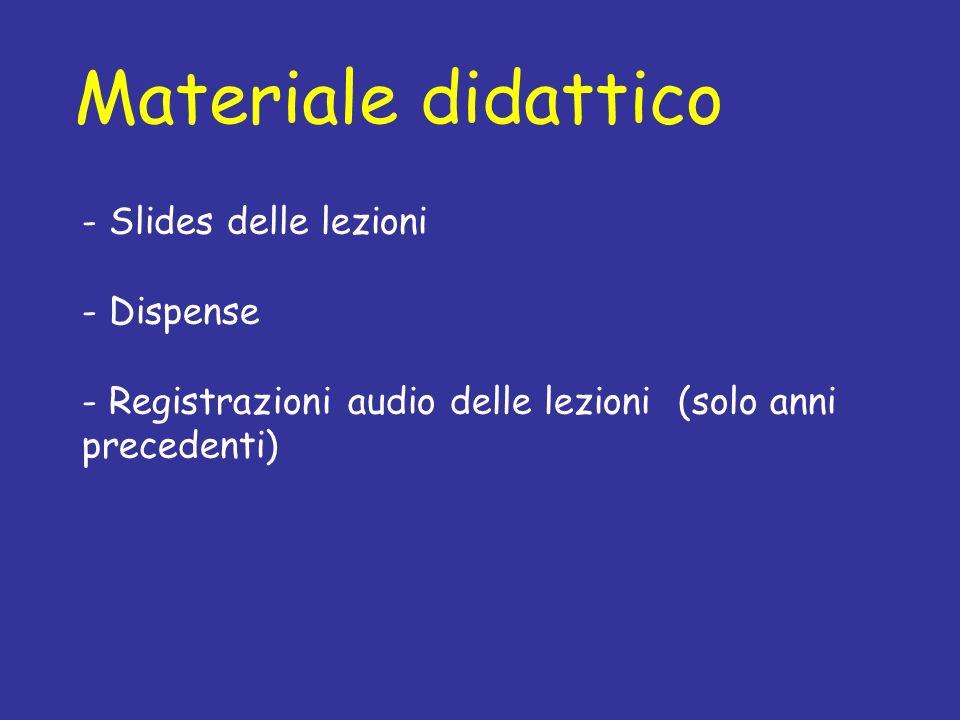 Materiale didattico - Slides delle lezioni Dispense