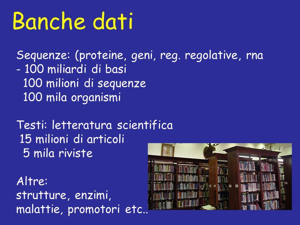 Banche dati Sequenze: (proteine, geni, reg. regolative, rna