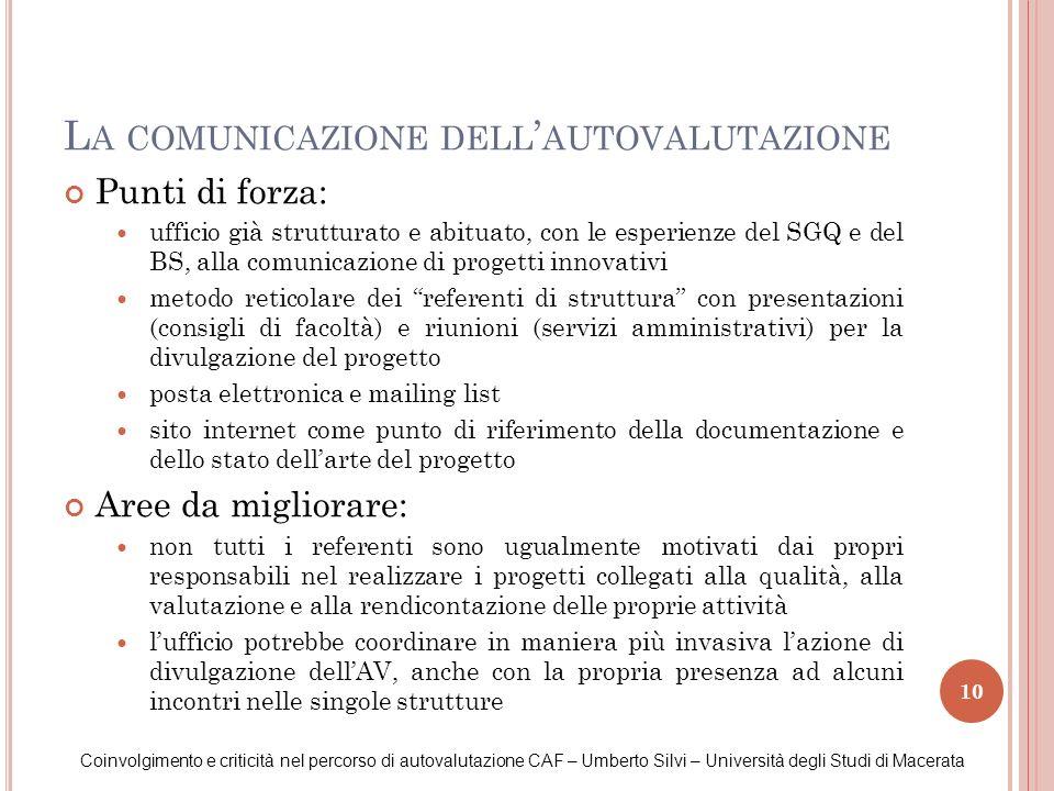 La comunicazione dell'autovalutazione